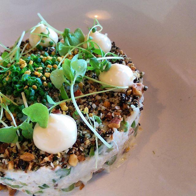 Jumbo crab / asparagus / bacon / soft egg/ quinoa and almond crumble / herbs.