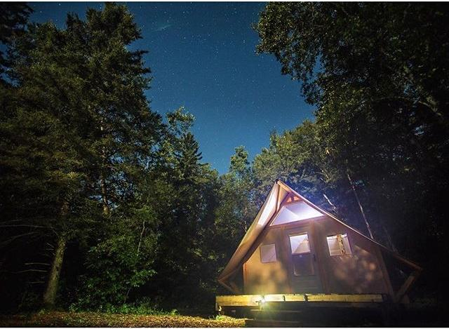 Keeping warm under the stars in our Otentik in Riding Mountain National Park, MB. #ExploreMB