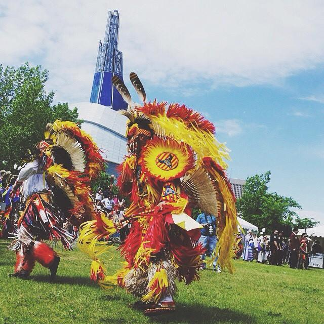 Join the celebration of culture today for @aptn_ca Aboriginal Day Live + Celebration at #theforks. {ps: there is a grand finale with awesome pyrotechnics at 11} Great photo by @jennldavis #MeetMeAtTheForks #ADL2015 #ExploreMB