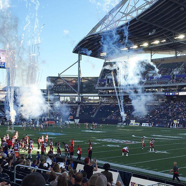 At the Winnipeg Blue Bombers vs Calgary Stampeders game. #CFL #winnipegbluebombers #calgarystampeders #bombersvsstampeders #canadianfootballleague #investorsgroupfield #football #tsn #thursdaynightfootball #canada #winnipeg #bluebombers #calgary #stampeders